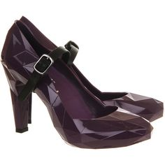 United Nude Lo Res Pump ($110) ❤ liked on Polyvore featuring shoes, pumps, purple, purple high heel pumps, leather high heel shoes, women shoes, purple pumps and genuine leather shoes