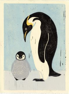 This penguin mother and baby illustration linocut art image is part of an ongoing series depicting wild birds, native and non-native.  It is created with multiple hand-carved linoleum mounted wood blocks, one for each color with as many as six. The colors are mixed and rolled out and printed by...
