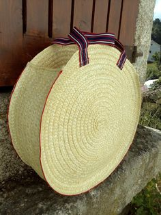 "NEW Straw bag 45 cm 17.72""- Large Straw Round Bag Basket-Handmade straw bag-Straw Tote bag- Handbag by OficinaDartesa on Etsy"
