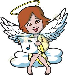 A musical angel :  A female angel with short reddish brown hair white wings and golden halo wearing a light shade of yellow gown sitting on a puffy white cloud smiles while holding a white paper with a blue green musical note print  The post A musical angel appeared first on VectorToons.com.