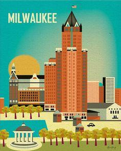 Milwaukee, Wisconsin Skyline  Poster Print - Wall Art for Home, Office, or Nursery Room BRAND NEW. $19.99, via Etsy.