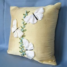 Beautiful flowers embroidered ribbon theme (Part Diy Pillows, Decorative Pillows, Throw Pillows, Scatter Cushions, Silk Ribbon Embroidery, Hand Embroidery, Bed Cover Design, Sewing Crafts, Sewing Projects