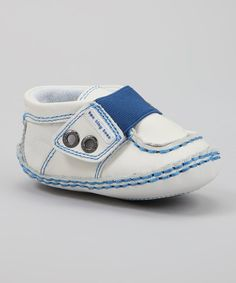 Take a look at this Ten Tiny Toes Footwear White & Blue Paper Boat Sneaker on zulily today!