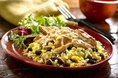Cheesy Chicken Monterey Recipe Main Dishes with Knorr® Chicken Flavor Rice Sides™, corn, black beans, green chilies, boneless skinless chicken breasts, monterey jack