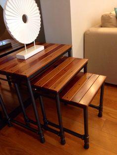 Nesting Tables. Reclaimed Solid Hardwood. Solid Ipil. Solid Yakal. Gun metal finish to pipe base.   #sibolfurniture #reclaimedsolidwoodfurniture #artisanfurniture