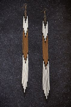 "Items similar to Ghost Dancer Hand Beaded 11 1/2 "" Long Seed Bead Fringe Earrings on Etsy"