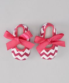 Take a look at this Hot Pink Zigzag Bow Flat by Diapers & Denim on #zulily today!