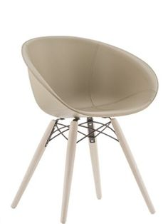 Gliss 4 Leg Chair with Upholstered Leather Shell. Choice of colours and cushion is extra. Different legs.