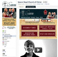 Saturn Road Church of Christ (Dallas, Garland) Custom Facebook Page - Designed by The Marketing Twins Facebook Fan Page, Churches Of Christ, The Marketing, Upcoming Events, Page Design, Family Life, Garland, Dallas, Twins