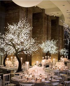 Fairy Lights In Trees, Fairy Lights Wedding, Tree Wedding, Fairy Light Tree, Lighted Trees, Wedding Reception Lighting, Rustic Wedding Reception, Wedding Reception Decorations, Tree Centrepiece Wedding