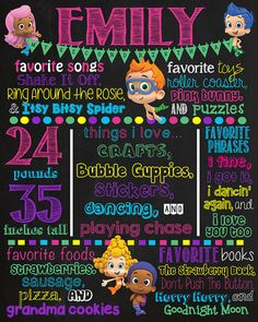 Bubble Guppies Birthday Chalkboard Sign by VickiTsCreations