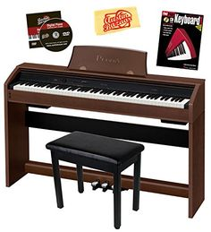 Casio Privia PX-760 88-Key Digital Piano Bundle with Gearlux Furniture-Style Bench, Instructional Book, Austin Bazaar Instructional DVD, and Polishing Cloth - Walnut -- Check this awesome product by going to the link at the image.