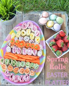 Spring Rolls Easter Platter from Super Healthy Kids  #realfood (For gluten free, try plaintain or gluten-free tortillas. For dairy free, cashew cream cheese or homemade mayo.) Easter Bunny, Watermelon