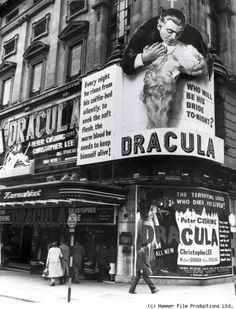 Hammer films spectacular London theater display for Dracula (1958) aka Horror of Dracula starring Christopher Lee.