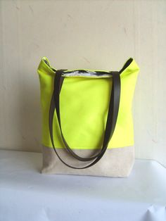 Neon yellow tote bag leather handles beach bag large by allbyFEDI