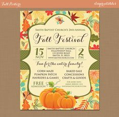 Fall Festival Harvest Invitation Poster / Pumpkin Patch Farm Template Church School Community Hayride Flyer / Fundraiser Autumn Craft Bake by sfmprintables
