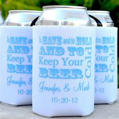 """These """"To Have and To Hold and To Keep Your Beer Cold"""" koozies from GraciousBridal.com are the perfect addition to any Summer wedding or engagement party! These fun can coolers make the perfect functional favor that your guests will love to use over and over! #weddinginspo #summerwedding #tohaveandtohold"""