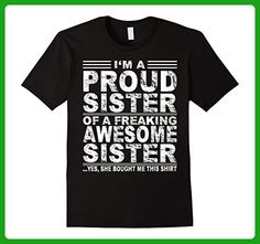 Mens I'm a proud sister of a freaking awesome sister Large Black - Relatives and family shirts (*Amazon Partner-Link)