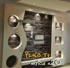 Eurl Urbaco added 179 new photos. Tv Unit Decor, Tv Wall Decor, Unique Wall Decor, Bedroom False Ceiling Design, False Ceiling Living Room, Plafond Staff, Tv Unit Furniture, 3d Wallpaper For Walls, Plafond Design