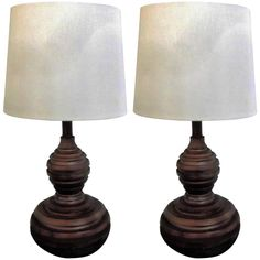 Pair of Acacia Wood Lamps | From a unique collection of antique and modern table lamps at https://www.1stdibs.com/furniture/lighting/table-lamps/