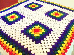 Rainbow Granny Square Afghan Bright Colored Throw by BeyondCrochet