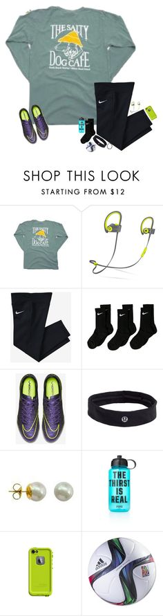 """""""Soccer Practice OOTN⚽️"""" by cfc-prep-sc ❤ liked on Polyvore featuring Beats by Dr. Dre, NIKE, lululemon, Majorica, Victoria's Secret PINK, LifeProof, adidas, women's clothing, women and female"""