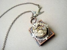 Steampunk Book Locket in Copper by MDsparks on Etsy, $29.00