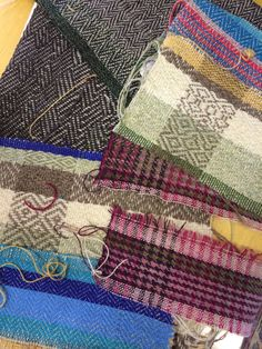 Samples woven at Weave Shetland Tweed workshop at the Centre for the Creative Industries, Yell in Shetland Wool Week 2014