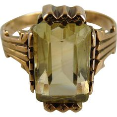 Antique Victorian Citrine Rose Gold 10K Ring