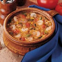 Cajun Shrimp Soup 2 T canola oil •2T all-purpose flour •3 celery ribs •1 med onion •1 small green pepper •2 green onions •2 garlic cloves •4 cans (14-3/4 ounces each) cream-style corn •1 can (10 ounces) diced tomatoes and green chilies, undrained •1 bay leaf •1/8 to 1/4 tsp white pepper •1/8 to 1/4 tsp cayenne pepper •Dash hot pepper sauce •3 c cooked small shrimp •1/3 c minced fresh parsley Cajun Recipes, Shrimp Recipes, Chili Recipes, Cooking Recipes, Yummy Recipes, Seafood Soup Recipes, Beet Recipes, Creole Cooking, Cajun Cooking