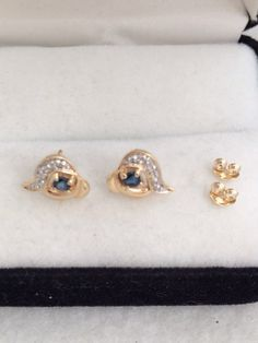 Lovely 14K 585 Fine Gold Faceted Round Blue by HauteCoutureLaLa