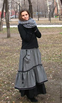 Зимние юбки в стиле бохо