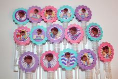 Doc McStuffins Mini Bubble Wands birthday party favors - set of 15 by MagikalMermaid on Etsy https://www.etsy.com/listing/288543351/doc-mcstuffins-mini-bubble-wands