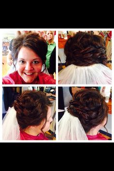 Wedding hair updo with braid and veil