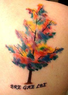 watercolor tattoo, tree,