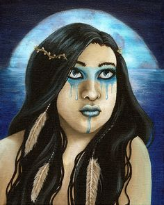 """Original painting by Heather Rose. Features a sea maiden who dreams of flying.   acrylic on cradled canvas 8x10""""  unframed"""