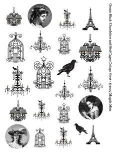Digital Chandeliers and Bird Cages Collage Sheet - Victorian - Black and White Illustrations - Printable Download