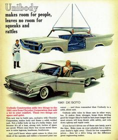 Unibody makes room for people, leaves no room for squeaks and rattles. 1961 DeSoto.