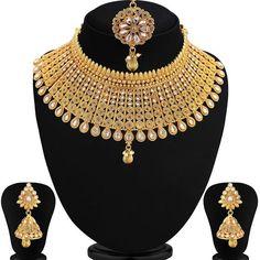 Indian Bridal Jewelry Sets, Wedding Jewelry Sets, Bridal Jewellery, Temple Jewellery, Necklace Lengths, Necklace Set, Gold Necklace, Gold Plated Necklace, Girls Jewelry