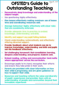 UK Teachers: OFSTED guide to outstanding teaching! Print this off and display… Primary Teaching, Primary Education, Teaching English, Teacher Training Primary, Early Education, Teaching Strategies, Teaching Tips, Teaching Techniques, Classroom Organisation