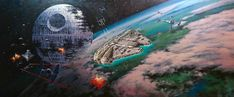 Battle of Endor by Rodel Gonzalez - Theme - The World's Largest Animation And Fine Art Gallery University Of Santo Tomas, Star Wars Wall Art, Star Wars Painting, Disney Artists, Thomas Kinkade, Star Destroyer, Fine Art Gallery, Feature Film, Battle