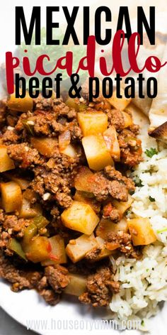 This quick and easy dinner recipe comes together with minimal ingredients. Ground beef and potatoes are simmered in a tomato sauce. Serve this dish up with some rice and fresh flour tortillas for a complete meal. Authentic Mexican Recipes, Mexican Dinner Recipes, Easy Dinner Recipes, Best Mexican Food, Healthy Mexican Food, Easy Family Recipes, Easy Mexican Dishes, Mexican Meat, Mexican Dinners