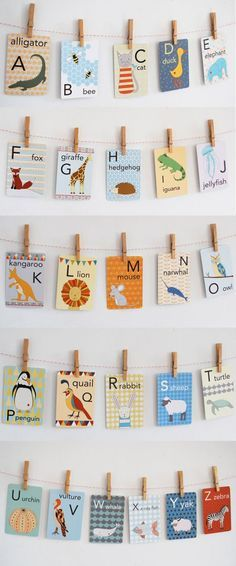 Animal alphabet cards to decorate a gender neutral nursery. gender | gender neutral nursery | nursery inspo | nursery decor inspo | gender neutral decor | new born baby | fashion | trends | cute | nursery furniture | pregnancy | maternity