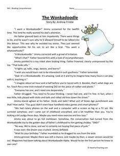 Wonkadoodle Reading Comprehension Worksheet – Have Fun Teaching 6th Grade Reading, Reading Test, Student Reading, Reading Skills, Teaching Reading, Reading Comprehension Strategies, Reading Fluency, Reading Passages, English Grammar Worksheets