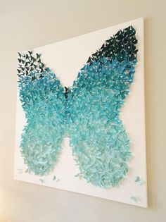 Aqua Turquoise Ombre Wings Butterfly Shape Canvas Art Whimsical Girls Nursery Room Wall Art Unique Custom Color Personalized Gift Aqua Turquoise Ombre Wings Butterfly Shape Canvas Art Whimsical Girls Nursery Room W Butterfly Wall Art, Butterfly Crafts, Butterfly Shape, Butterfly Mobile, Butterfly Bedroom, Butterfly Background, Gray Background, Monarch Butterfly, Butterfly Wings