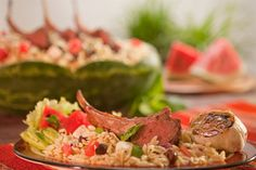 Grilled Lamb atop Greek Orzo Salad with Texas Watermelon