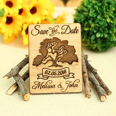Custom Save The Date Magnet Set, Tree Save the Date, Personalised Wedding Favor, Rustic Save the Date Magnet, Rustic Wooden Wedd Personalized Wedding Favors, Wedding Favours, Wedding Invitations, Wedding Ideas, Rustic Save The Dates, Wedding Save The Dates, Oak Tree Wedding, Cheap Party Favors, Save The Date Magnets