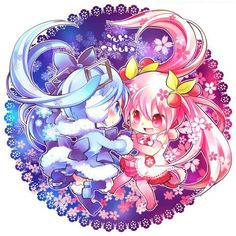 Snow (or Yuki whatever you call it) Miku and Sakura Miku is soooooo cute! Especially if they are chibi or together. Kawaii Chibi, Cute Chibi, Anime Chibi, Kawaii Anime, Anime Art, Kawaii Girl, Hatsune Miku, Miku Chan, Beautiful Anime Girl