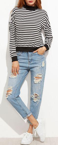 Contrast Trim Striped Drop Shoulder Sweatshirt