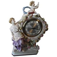 Porcelain Clock, Hand-Painted Baroque Style Porcelain Clock/ Aphrodite and Cupid